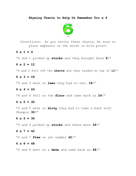 Rhyming Chants to Help With Learning Multiples of 6