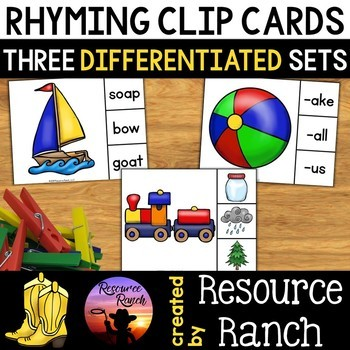 Rhyming Activities Clip Cards