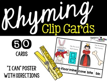 Rhyming Clip Cards - Alice in Wonderland Theme