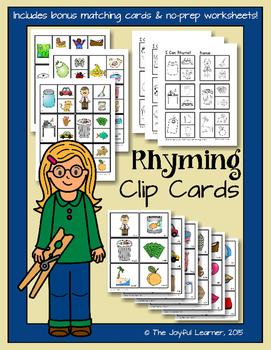 Rhyming Clip Cards + Bonus Matching Cards