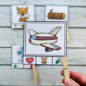 Rhyming Clip It Cards Literacy Center (Plus 32 Whole Group Bonus Pictures)