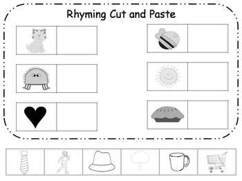 Rhyming Cut and Paste Printable {FREEBIE} by Klever Kiddos | TpT