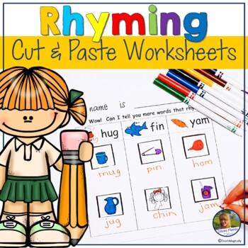 Rhyming Cut and Paste Sorting Worksheets No Prep