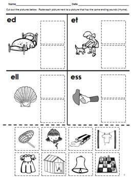 Rhyming Cut and Paste for Phonological Awareness--Perfect for Morning Work!