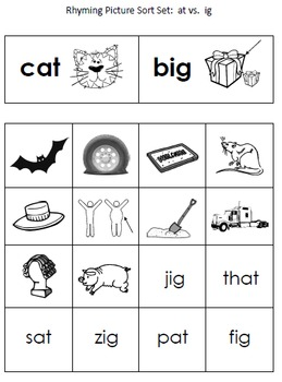 Rhyming Picture Sorting Centers for Phonological Awareness--Morning Work!