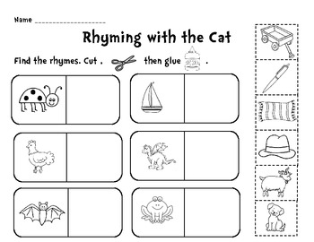 Rhyming with the Cat Cut and Paste Activity