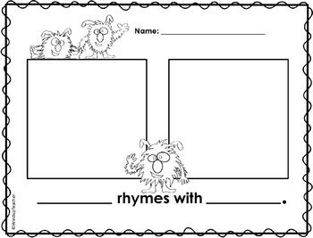 Rhyming Dust Bunnies Class Book & Skills Sheet