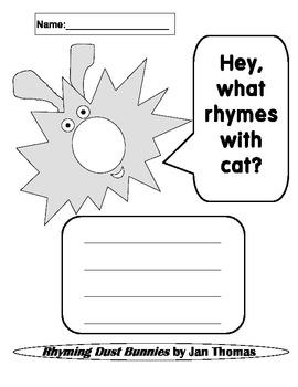 Rhyming Dust Bunnies Rhyming Worksheets Kindergarten, 1st Grade, Pre-K