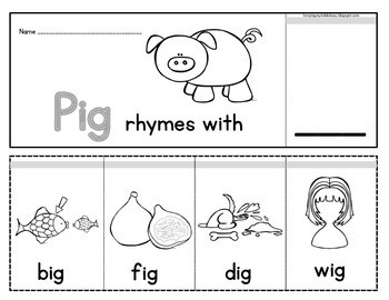 Rhyming FLIP BOOKS - Word Families - Literacy Centers - Rhyme Time Game