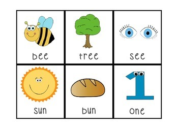 Rhyming Flashcards with Rhyme Oddity Pictures