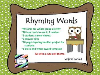 Rhyming Fun---With an Owl Theme