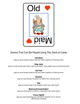Rhyming Games (Old Maid and Other Card Games -Rhyming Style!)