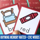 Rhyming Games: Rhyming Memory Match Game with CVC Words