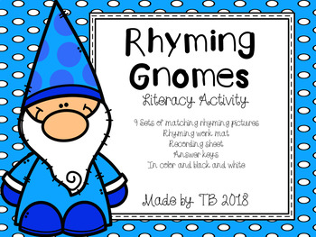 Rhyming Gnomes Literacy Activity