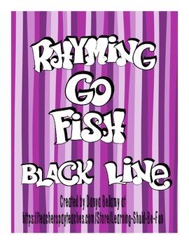 Rhyming Go Fish or Memory Game (Black Line)
