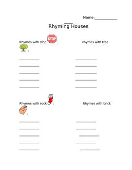 Rhyming Houses Recording Sheet