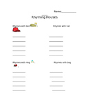 Rhyming Houses Recording Sheet