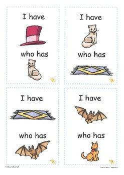 Rhyming(pitures): I Have...Who Has? Cards