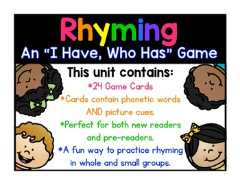 """NEW!! Rhyming """"I have, who has"""" game with words AND picture cues!"""