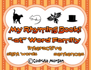 """Rhyming Interactive Book - """"-at"""" Word Family. CCS Aligned"""