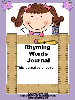 Rhyming Words Journal: Includes Boy and Girl Cover~ Suppor