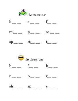 Rhyming Letters AR & UN Kindergarten Fill in the Blanks