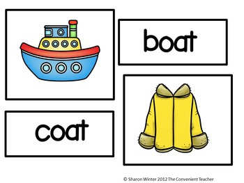 Rhyming Literacy Center Picture and Word Match and Activities