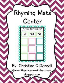 Rhyming Mats Literacy Center: Word Work, Common Core
