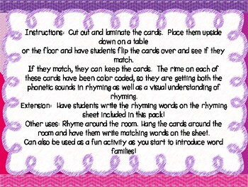 Rhyming Memory With Visual Clues