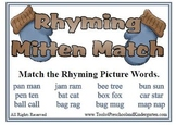 Rhyming Mitten Match - Rhymes Winter Theme Fall Fun - Reading Center - Literacy