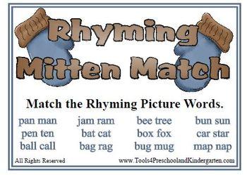 Rhyming Mitten Match - Rhymes Winter Theme Fall Fun - Reading Center - Literacy