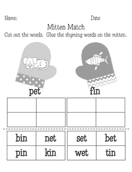 Rhyming Mittens Literacy Center