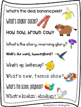 Rhyming morning greetings by herding kats in kindergarten tpt rhyming morning greetings m4hsunfo