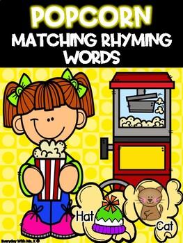 Rhyming Movie Popcorn Matching Phonics Literacy Center