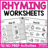 Rhyming No Prep Worksheet Bundle