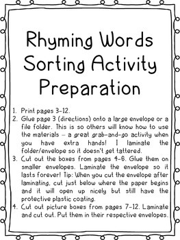 Rhyming Oral Language Activity - Building Reading and Writing Skills (Phonics)