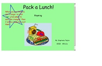"Rhyming - ""Pack a Lunch"" Smart Board lesson"