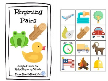 Rhyming Pairs- An ELA Concept Adapted Book for Autism Units or Early Elementary