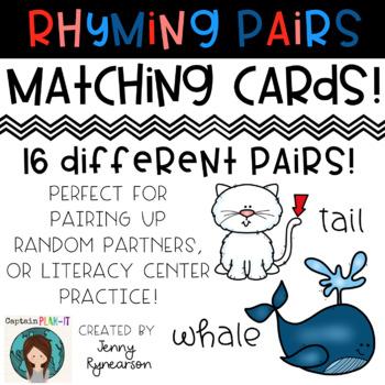 Rhyming Pairs Matching Cards! Set 2!