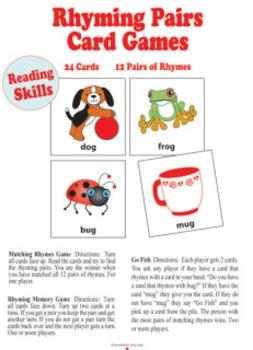 Rhyming Pairs card game pdf files