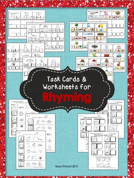 Rhyming - Phonological Awareness Task Cards & Worksheets for Centers