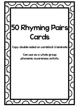 Rhyming Phonemic Awareness Task Cards