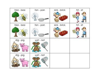 Rhyming Picture Cards - Free Sampling