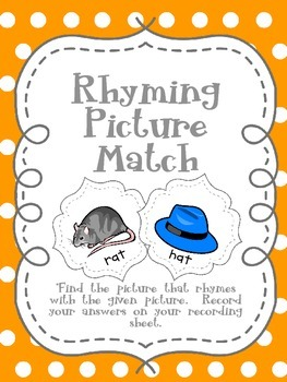 Rhyming Picture Match Folder Game