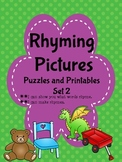 Rhyming Pictures: Puzzles & Printables Set 2 (Common Core -B&W  set included)