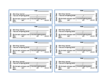 Rhyming Poetry Exit Tickets