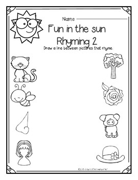 Rhyming Poke Cards (Sunshine Theme)