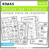 Hojas de Trabajo de Rimas (Rhyming Printables in Spanish)