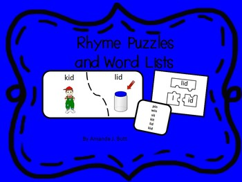 Rhyming Puzzles and Word Lists; Kindergarten; First; Autism; Special Education