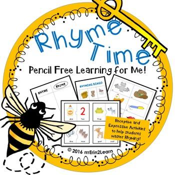 Rhyming Receptive Expressive Hands On Activities Kindergarten Pre-K